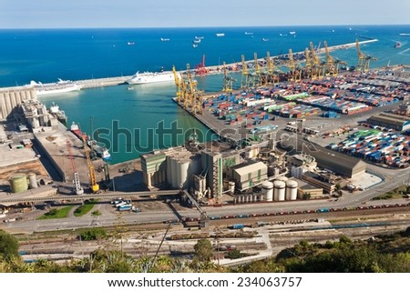 Cargo port in Barcelona, Spain - stock photo