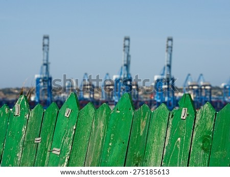 Cargo port in Malta, different view to port, conceptual photo, harbour in Malta, industrial area in Birzebugga, Malta. Business. Logistics - stock photo