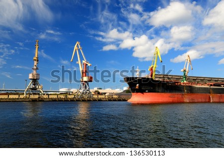cargo port. Ventspils terminal, Latvia - stock photo
