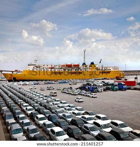 Cargo sea port. Sea cargo cranes. Cars. Seascape. - stock photo