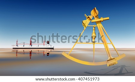 Cargo ship and sextant Computer generated 3D illustration - stock photo