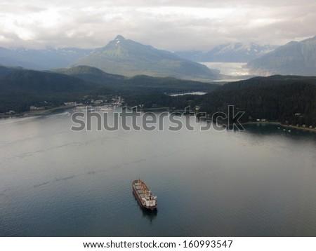 Cargo ship approaching Juneau, Alaska - stock photo
