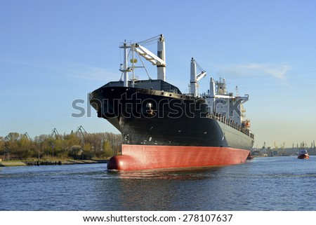 Cargo Ship at the Port of Gdansk, Poland - stock photo