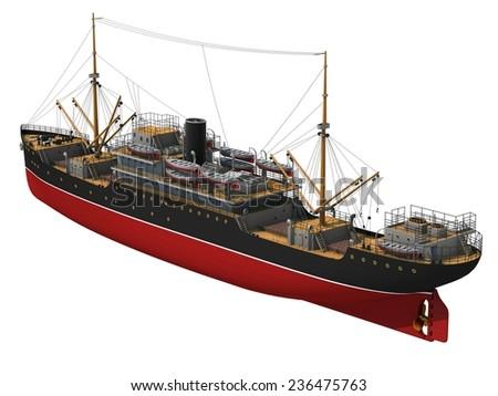 Cargo Ship. 3D Model. - stock photo