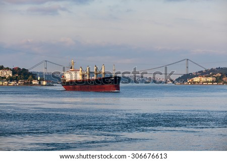 Cargo ship in Istanbul - stock photo