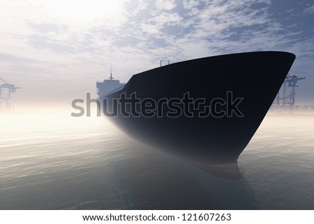 Cargo Ship in Very Foggy Industrial Port 3D render - stock photo