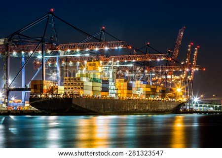 Cargo ship loaded in the New York container terminal as observed from  Elizabeth, NJ - stock photo