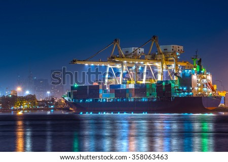 Cargo ship loaded in the Thailand container terminal  - stock photo