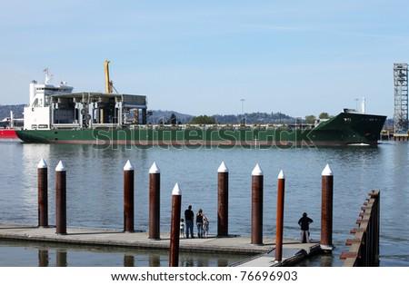 Cargo ship maritime transportation. - stock photo