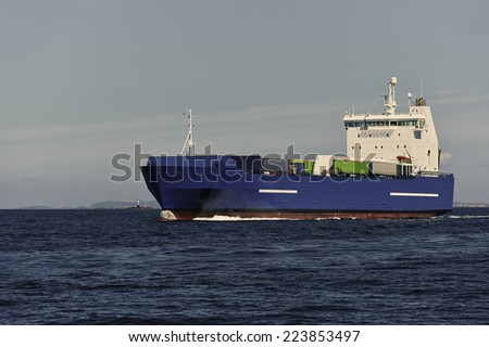 Cargo ship.  Series of ships and yachts - stock photo