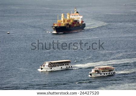 Cargo ship, Turkey-Istanbul - stock photo