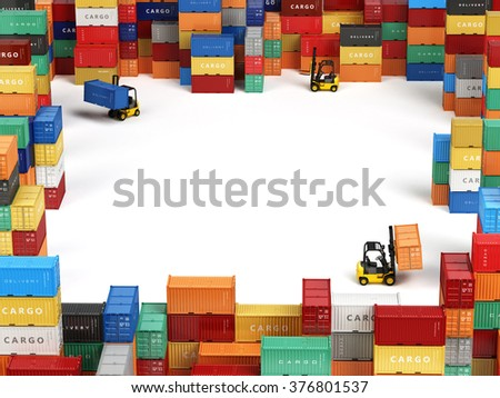 Cargo shipping containers in storage area with forklifts and space for text. Delivery transportation concept. 3d - stock photo