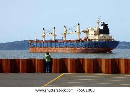 Cargo ships maritime transportation. - stock photo