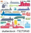 Cargo supply chain and transportation means color raster outline illustration set - stock photo