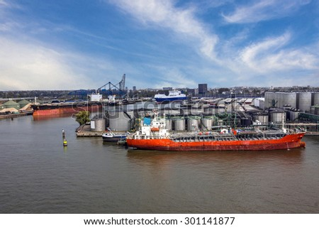 Cargo tanker vessel in sea port Rotterdam, Netherlands. - stock photo
