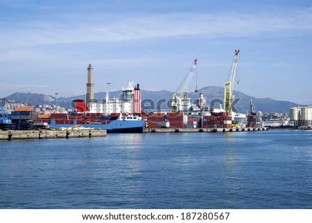 Cargo terminal in the Port of Genoa, Italy - stock photo