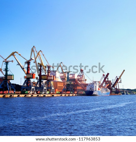 Cargo terminal of Ventspils, Larvia. Wide view - stock photo