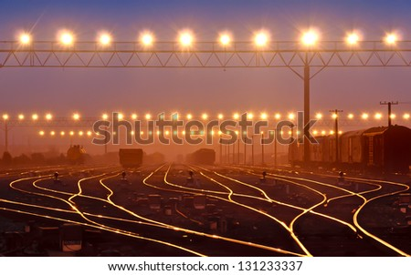 Cargo train platform at container - stock photo