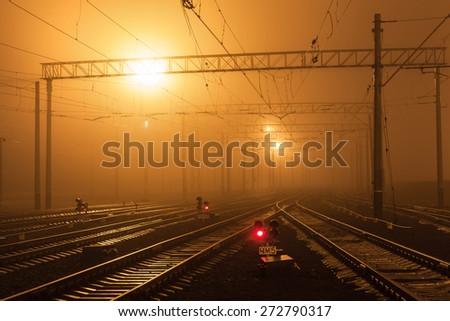 Cargo train platform at night. Railroad in Donetsk. Railway station - stock photo