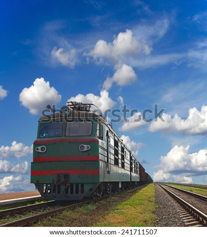 Cargo trains with a blue sky background - stock photo