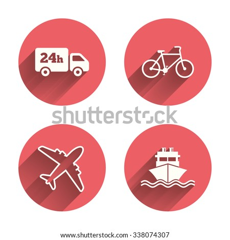 Cargo truck and shipping icons. Shipping and eco bicycle delivery signs. Transport symbols. 24h service. Pink circles flat buttons with shadow.  - stock photo