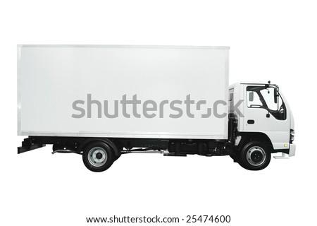 Cargo truck isolated on white background - stock photo