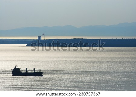 Cargo vessel. - stock photo