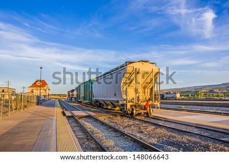 Cargo Wagons at Sunset - stock photo