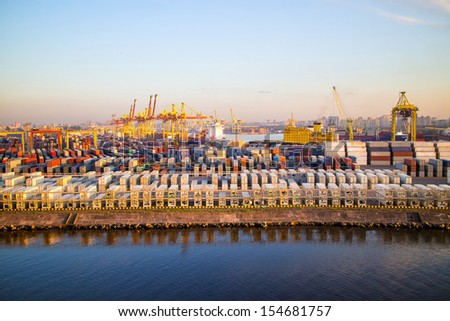 Cargoes in sea port. Container Terminal. Port Sant-Petersburg  - stock photo