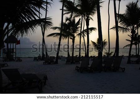 Caribbean Beach at sunrise - stock photo