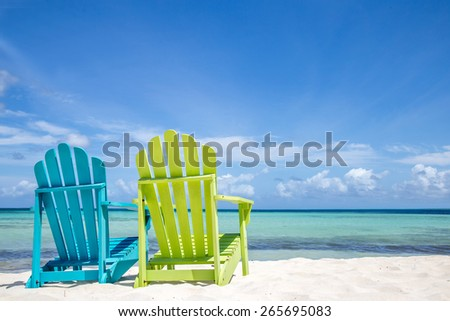 Caribbean Beach Chairs - stock photo