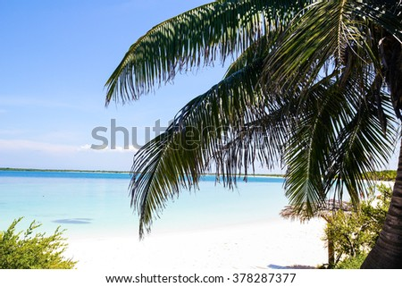 Caribbean beach in the Cayo Santa Maria, an island surrounded by reefs, clear waters and white sands. - stock photo