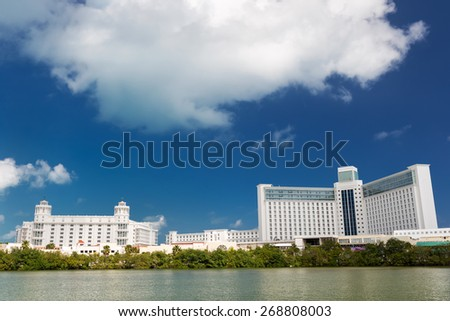 Caribbean city panorama view, Cancun