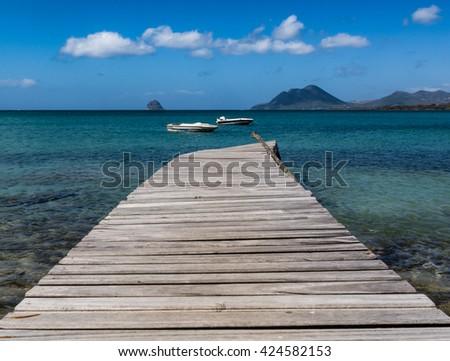 Caribbean Dock - stock photo