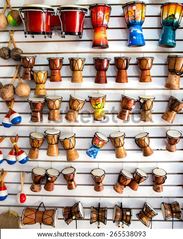 Caribbean music instruments in Dominican Republic tourist shop - stock photo