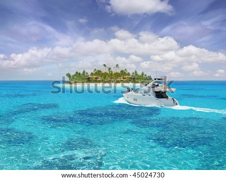 Caribbean paradise with yacht / boat / ship in foreground - stock photo