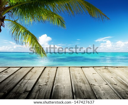 Caribbean sea and perfect sky - stock photo
