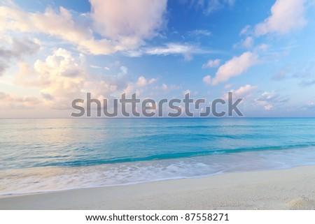 Caribbean Sea beach at sunrise - idyllic background - stock photo