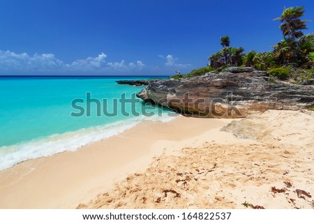 Caribbean Sea beach in Playa del Carmen, Mexico - stock photo