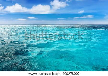Caribbean sea bottom with blue summer wave background, Cuba. Summer sea background. Transparent sea. Tropical sea. Endless Cuba sea. Daylight sea. Tropic ocean, Cuba. Turquoise sea - stock photo