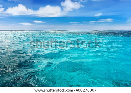 Caribbean sea bottom with blue summer wave background. Exotic sea water heaven. Nature beauty of tropical water paradise. Endless Cuba summer. Luxury tropic resort. Tranquility of turquoise ocean.  - stock photo