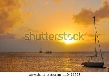 Caribbean Sunset - stock photo