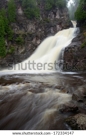 Caribou Falls of the Caribou River in Northern Minnesota - stock photo