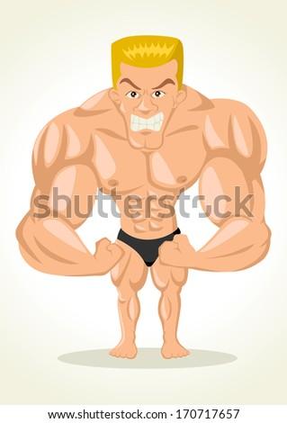 Caricature illustration of a bodybuilder - stock photo