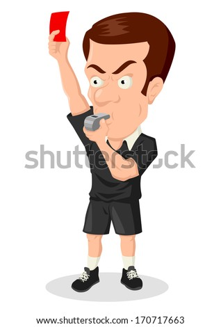 Caricature illustration of a soccer referee showing red card - stock photo