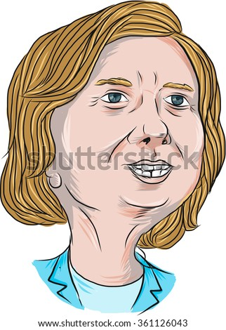Caricature illustration showing Democrat presidential candidate Hillary Clinton on isolated background done in cartoon style. - stock photo