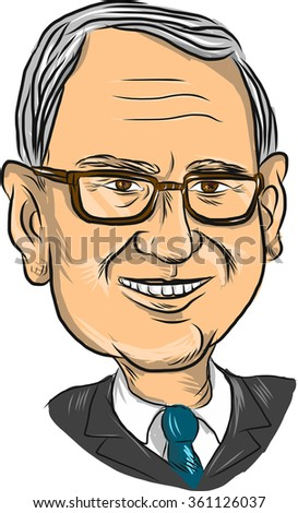 """Caricature illustration showing head or bust of Bernard """"Bernie"""" Sanders, American Senator, elected politician and Democrat presidential candidate on isolated background. - stock photo"""