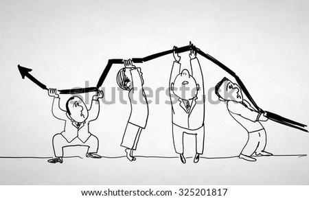 Caricature image of people of different professions on white background - stock photo