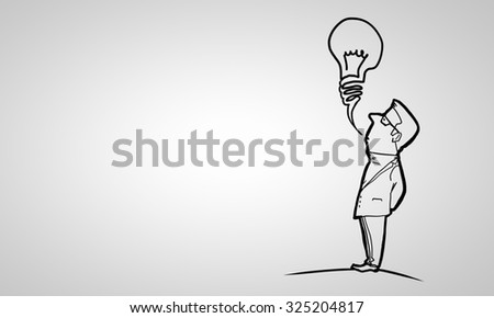 Caricature of funny businessman on white background - stock photo