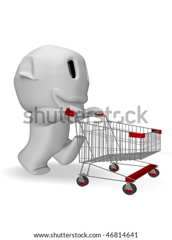 caricature of man smiling with shopping cart - stock photo